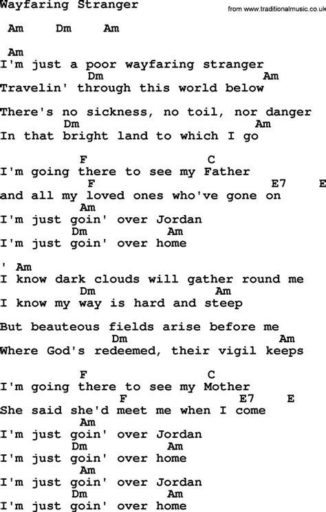 Johnny Cash song Wayfaring Stranger, lyrics and chords ...