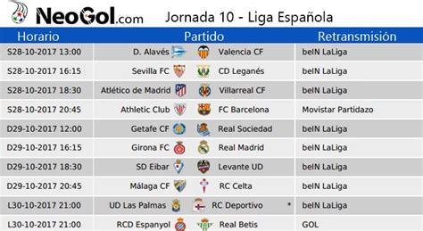 Jornada 10 Liga Española 2017 | Partidos y horarios