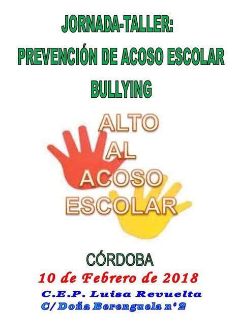 JORNADA TALLER SOBRE PREVENCIÓN DE ACOSO ESCOLAR. BULLYING ...