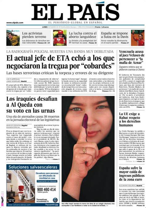 Journal El País  Espagne . Les Unes des journaux de ...