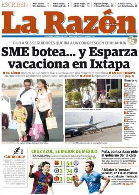 Journal La Razón (Mexique). Les Unes des journaux de ...