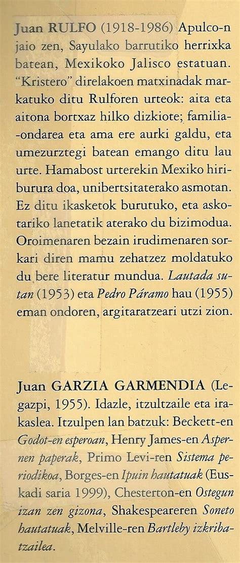 Juan Rulfo Ipuinak eta Eleberriak | Aiete – Lantxabe ...