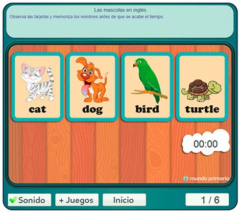 Juego de mascotas en inglés