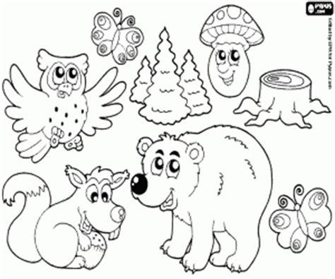 Juegos de Animales del bosque para colorear, imprimir y pintar