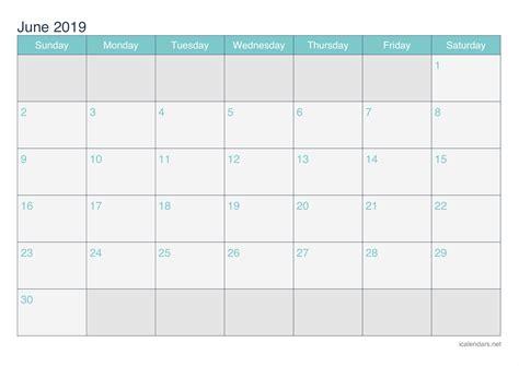 June 2019 Printable Calendar   icalendars.net