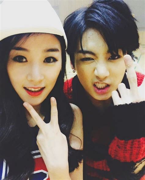 Jungkook with his cousin (yes she was in the war of ...