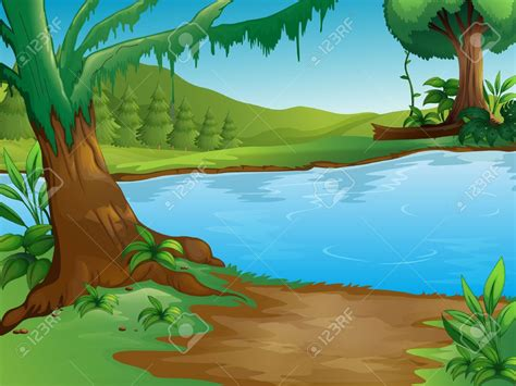Jungle clipart pond   Pencil and in color jungle clipart pond