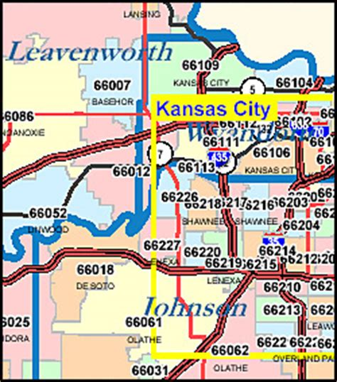 Kansas ZIP Code Map including County Maps