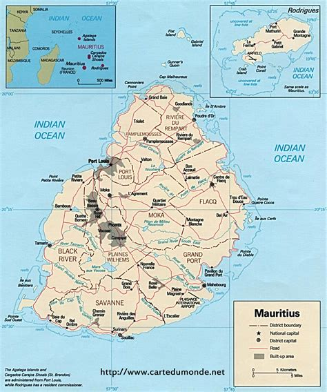 Karte Mauritius, Karte auf Land Mauritius