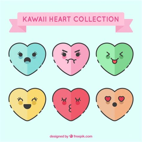 Kawaii heart collection Vector | Free Download