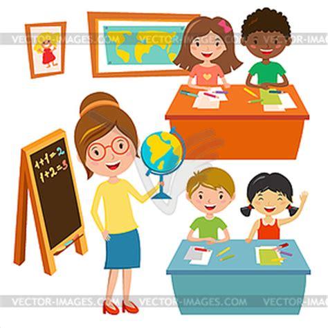 Kids Schule Erdkundeunterricht   Vektorgrafik