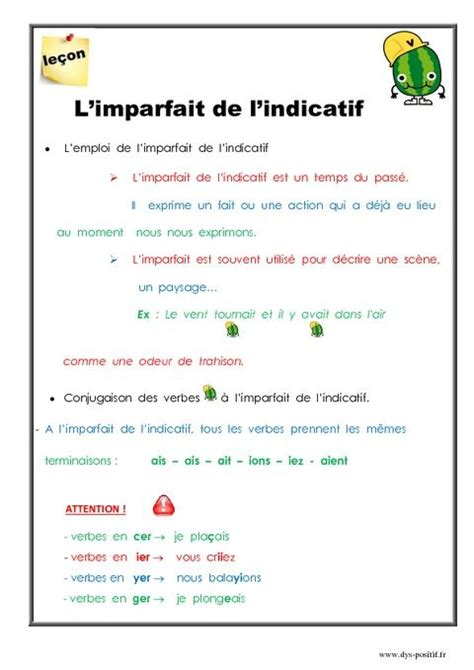 L'imparfait de l'indicatif (CM2) | Primaire-Français 5 ...
