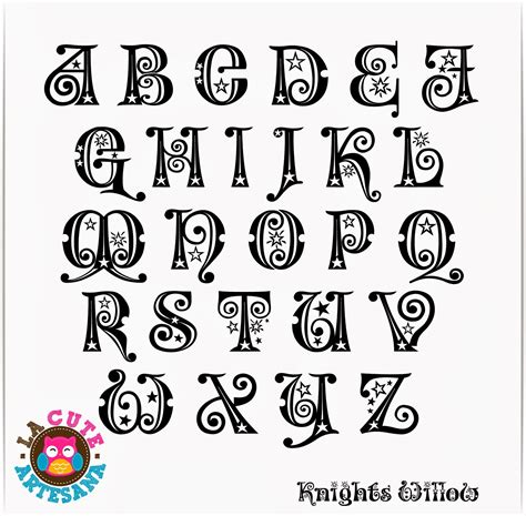 La Cute Artesana: Punto de Cruz: ABC Knight Willow mayúsculas