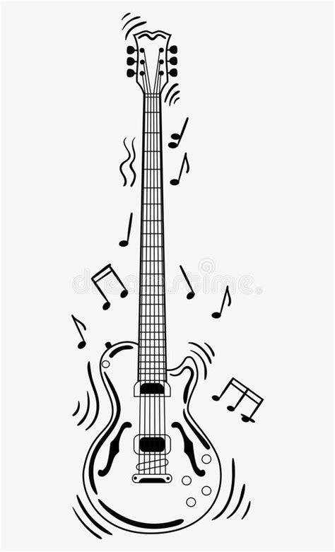 La Guitarra Eléctrica Hace Un Sonido Guitarra Blanco Y ...
