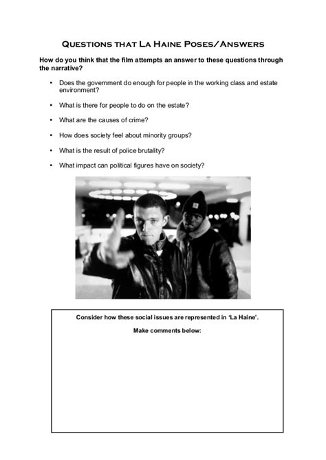 La Haine course booklet