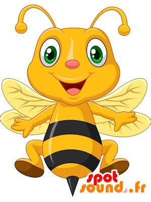 La mascota de color amarillo y negro abeja, muy sonriente ...