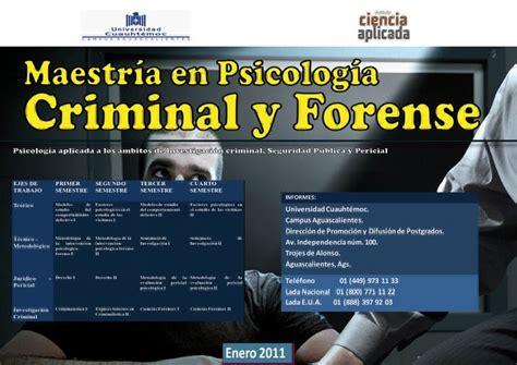 La Mente Criminal: MAESTRIA EN PSICOLOGIA CRIMINAL FORENSE