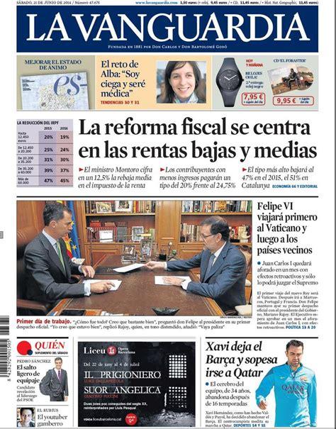 La portada de La Vanguardia del sábado 21 de junio de 2014