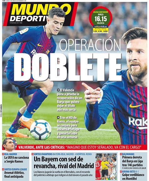 La portada del diario Mundo Deportivo  14/04/2018