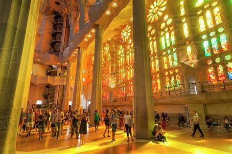 La Sagrada Familia church, basilica interior with stained ...