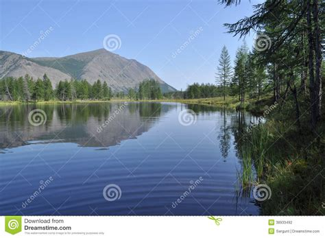 Lake And Reflections Of The Mountains Stock Photo   Image ...
