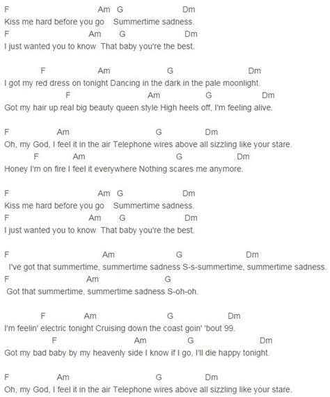 Lana Del Rey - Summertime Sadness Chords Capo 4   Lana Del ...