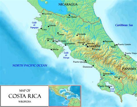 Landkarte Costa Rica (Reliefkarte) : Weltkarte.com ...