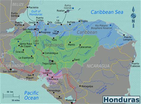 Landkarte Honduras  Übersichtskarte/Regionen  : Weltkarte ...