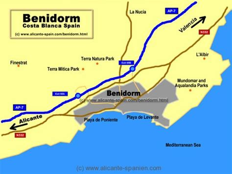 Landkarten Benidorm Spanien