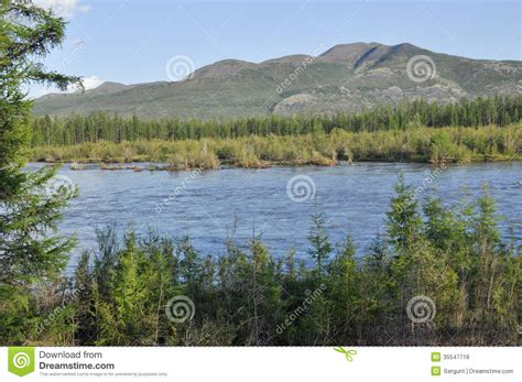 Landscape With The River And The Mountains. Royalty Free ...