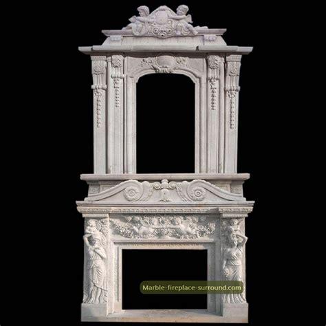 Large antique fireplace mantel double deck overmantel