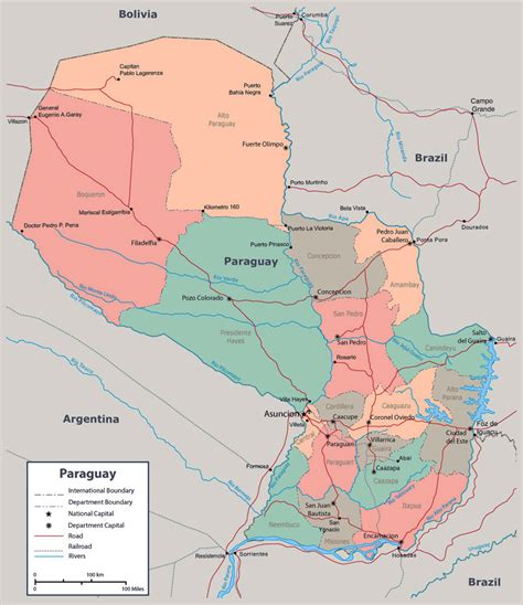 Large detailed administrative map of Paraguay with cities ...