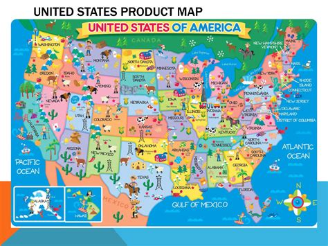 Large detailed product map of the United States | USA ...