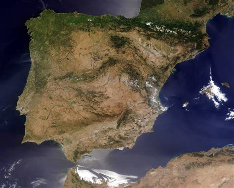 Large detailed satellite map of Spain. Spain large ...