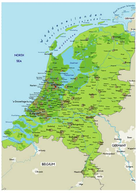 Large Physical Map of Netherlands