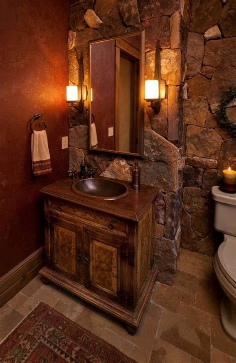 Large stone tiles makes for a rustic, romantic bathroom ...