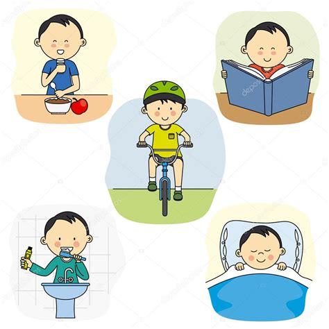 Las actividades diarias de un niño — Vector de stock ...