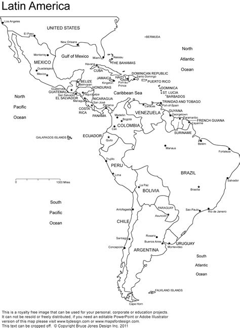 Latin America printable, blank map, south america, brazil ...