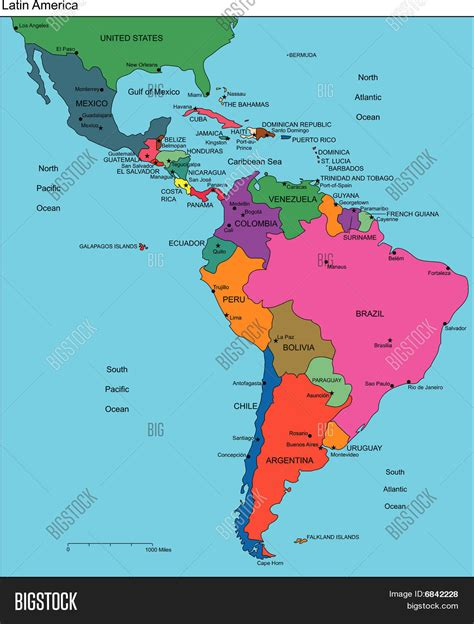 Latin America with Editable Countries, Names Stock Vector ...
