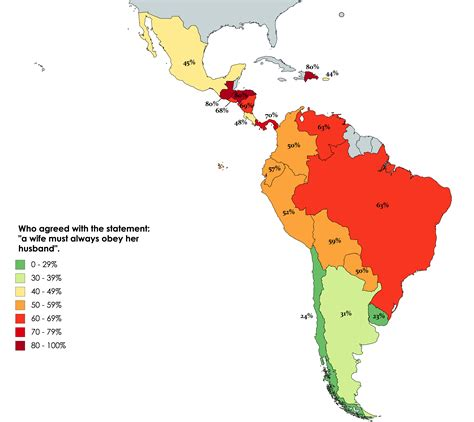 Latin American countries by percentage of people who ...
