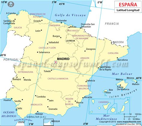 Latitud y Longitud de España, Coordenadas Geograficas de ...