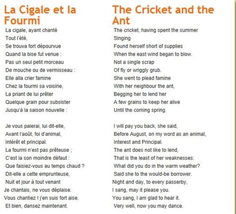 Le Poeme La Cigale et la fourmi The Cricket and the Ant ...