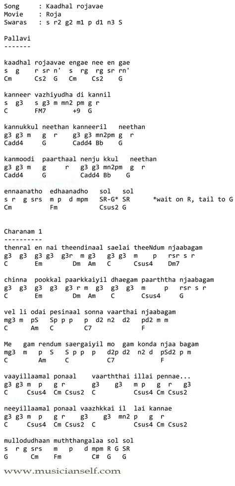 Learning to find chords for songs: Kadhal Rojave Rahman ...