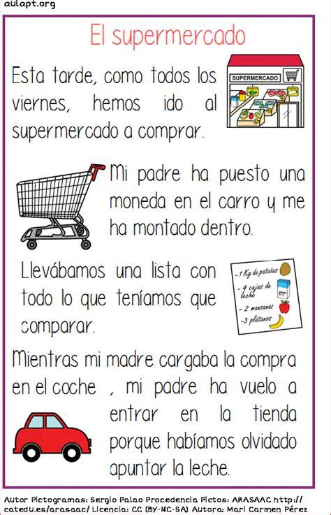 Lectura comprensiva de textos cortos. El supermercado ...