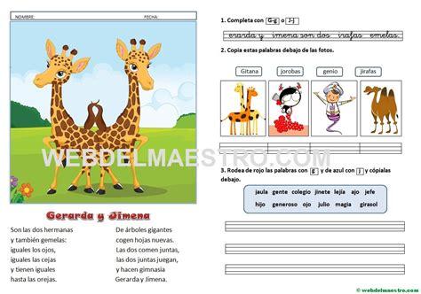 Lecturas infantiles | Letras g, j - Web del maestro