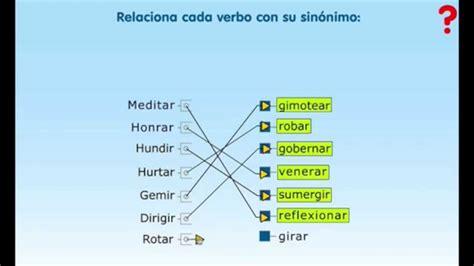 Lengua primaria Relaciona cada verbo con su sinónimo   YouTube