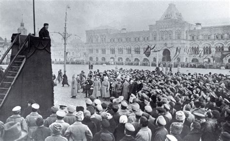 Lenin holding a speech on Red Square in Moscow, photograph ...