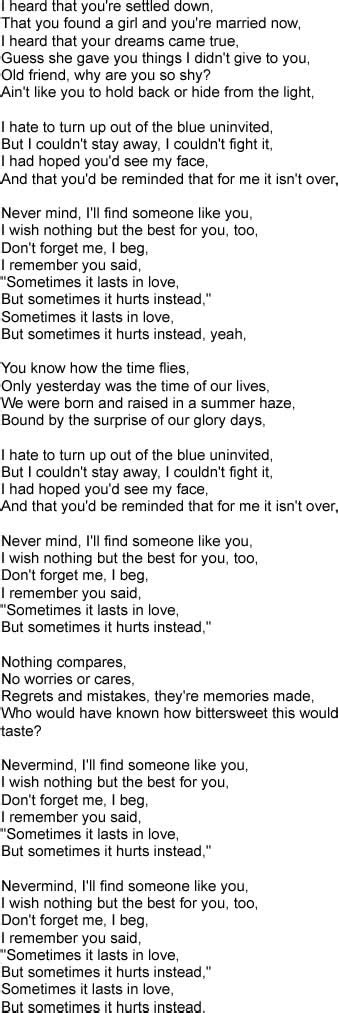 Letra de SOMEONE LIKE YOU Adele
