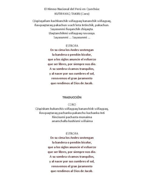 LETRA Del Himno en Quechua