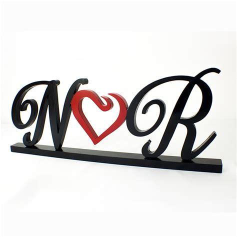 Letras De Mdf Unidas Por Corazon. Bodas Amor Iniciales ...